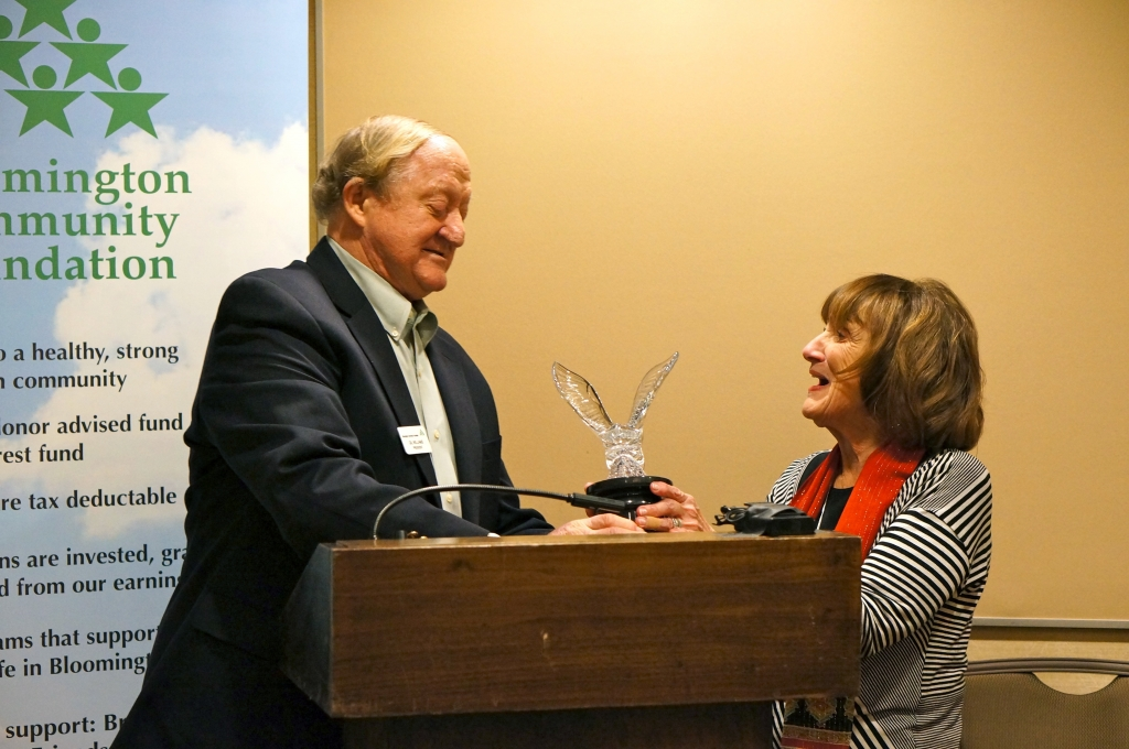 "Gil Williams, President of the Bloomington Community Foundation, presented Susan Neis with the Legacy Award. Susan personally thanked Gil Williams and the Foundation for donating to Cornerstone without making Cornerstone specifically document how the money would be spent. Susan said, ""Gil and the Foundation trusted us."""